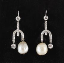 A pair of certificated natural saltwater pearl & diamond earrings, the pearls measuring
