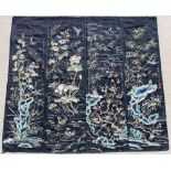 A set of four late 19th / early 20th century Chinese embroidered silk panels depicting pond scenes &