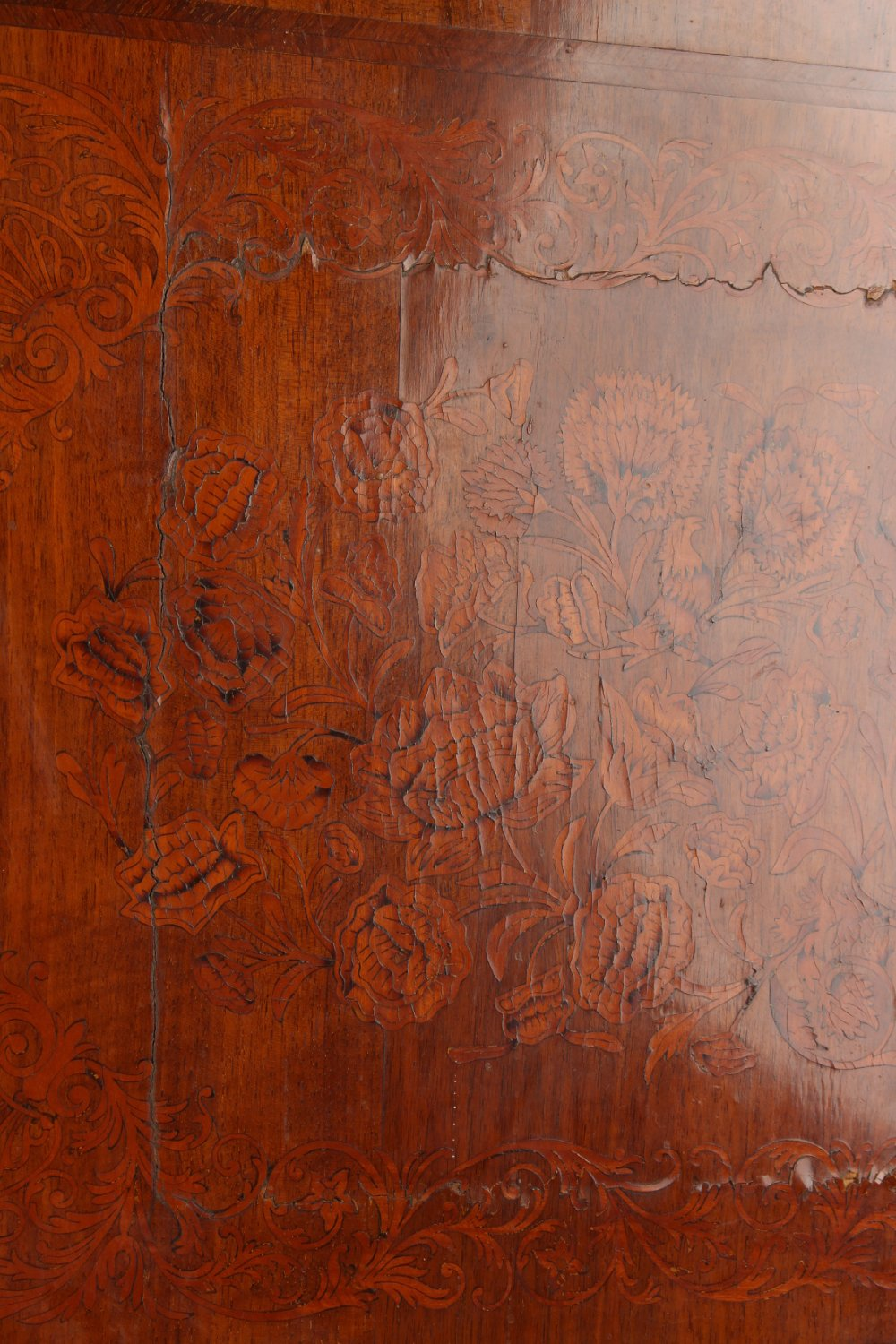 Property of a deceased estate - a walnut & floral marquetry inlaid two part cabinet on stand, - Image 3 of 4