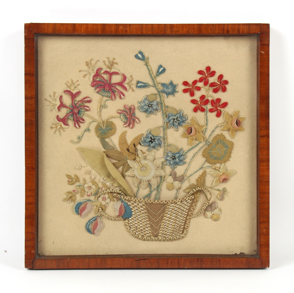 Property of a gentleman - a 19th century felt work picture depicting a basket of flowers, in