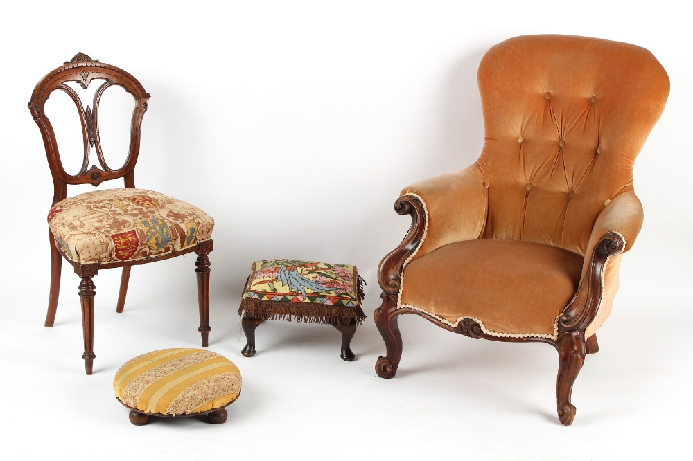 Property of a lady - a Victorian carved mahogany armchair with peach coloured upholstery; together