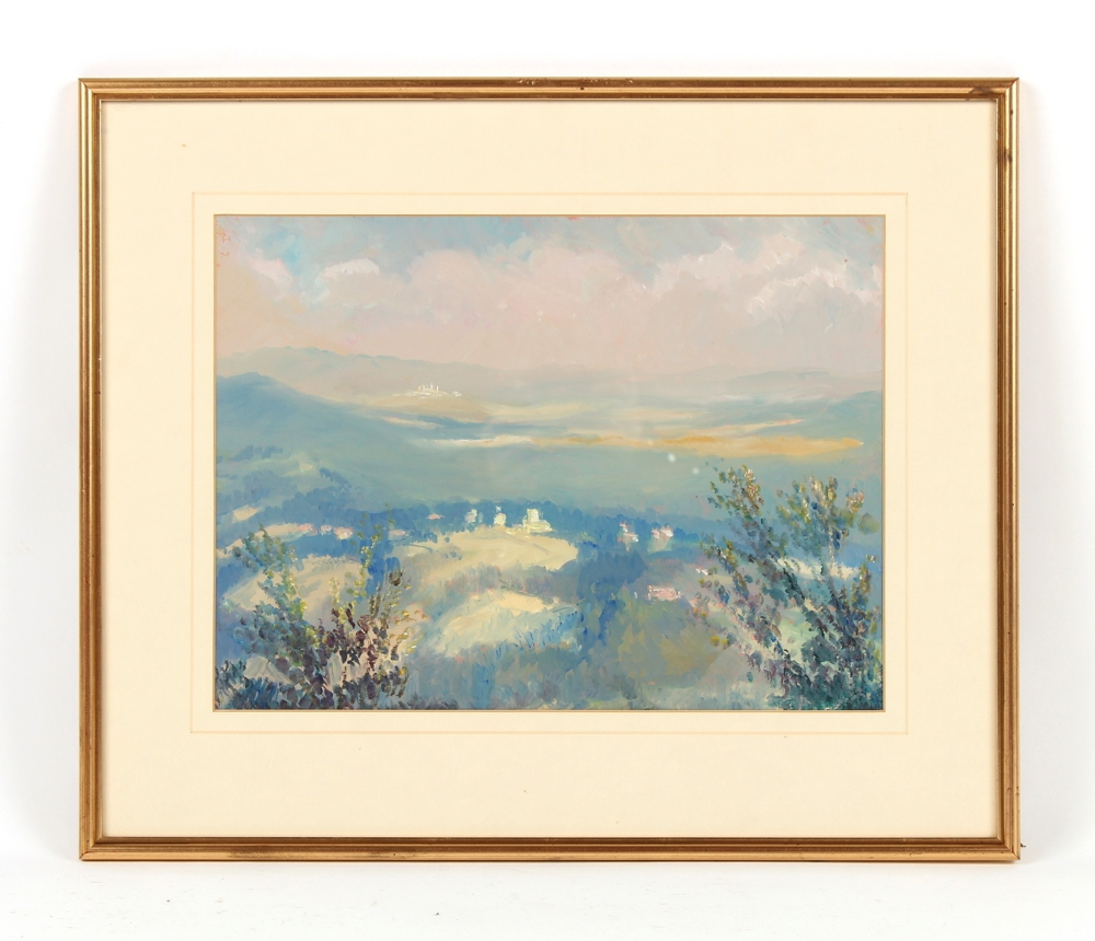 Property of a deceased estate - Roger Rigby (1922-2019) - 'DISTANT VIEW OF SAN GIMIGNANO' - oil on