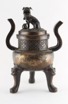 Property of a gentleman - a Chinese bronze tripod censer & cover, Ming Dynasty (1368-1644), the