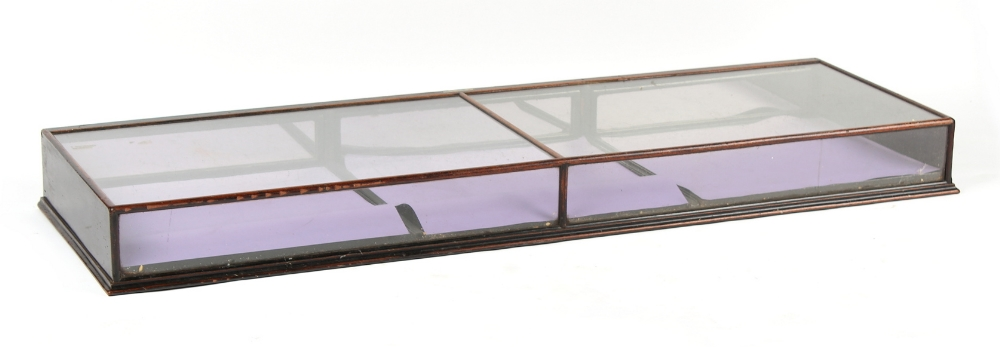 A late 19th century mahogany framed & glazed table top display case, with three mirror panelled