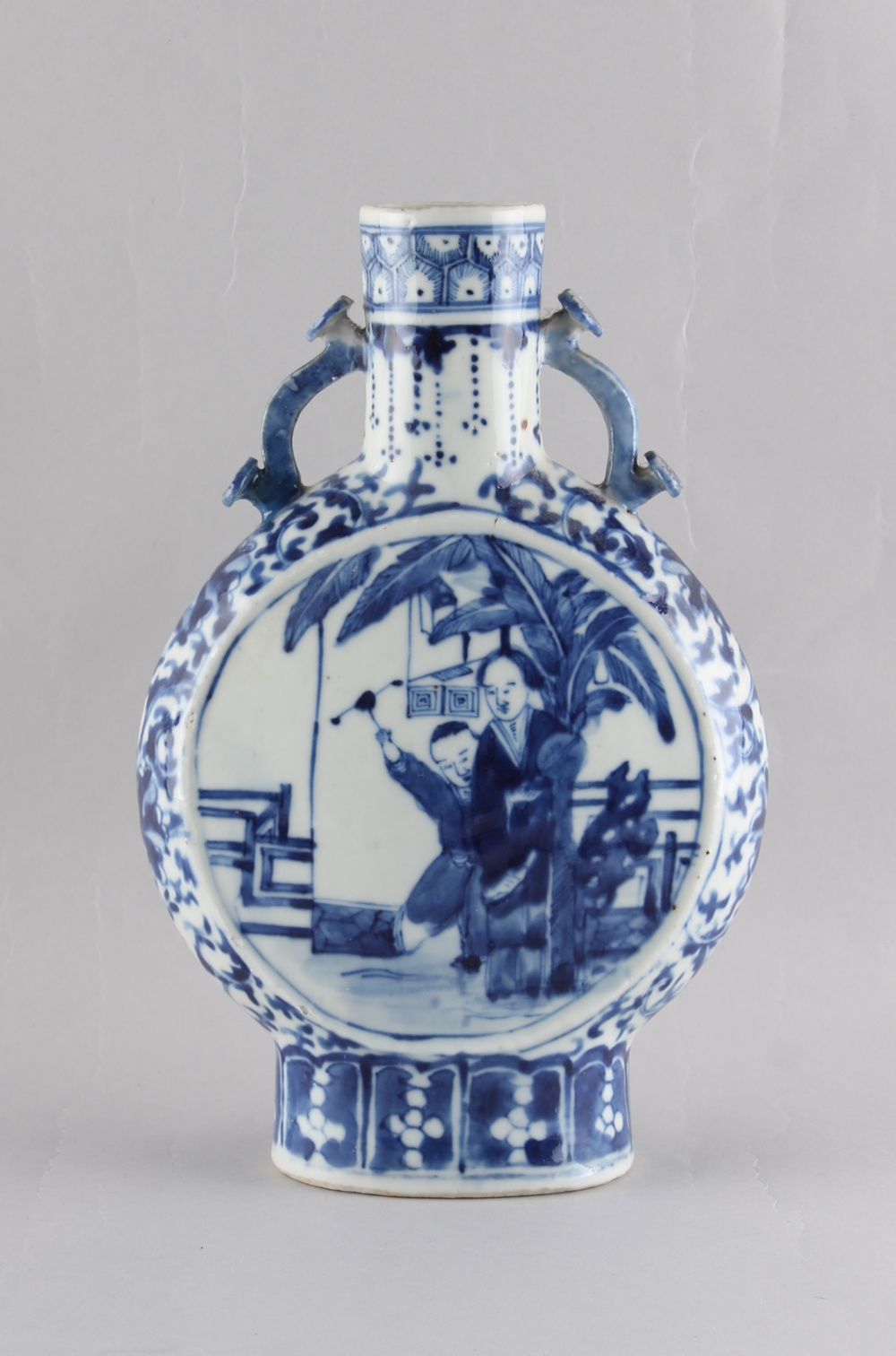 A 19th century Chinese blue & white moon flask, apocryphal Kangxi 4-character mark, 9.85ins. ( - Image 2 of 3