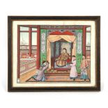 A 19th century Chinese Canton painting on paper depicting a court scene, in glazed Hogarth frame,
