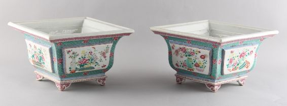 A pair of Chinese famille rose square section planters, Guangxu period, late 19th century, each