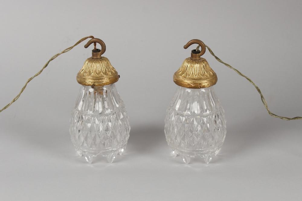 Property of a gentleman - a pair of ormolu or gilt brass & cut glass ceiling lights, each 7.