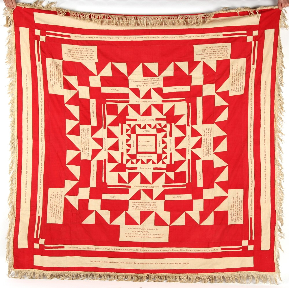 Property of a gentleman - a 19th century red & white cotton quilt or coverlet, reputedly the work of