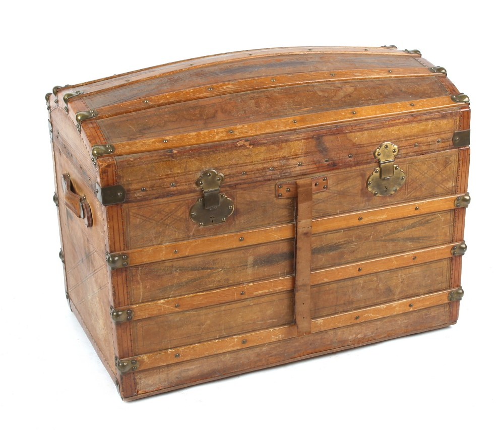 Property of a deceased estate - a late 19th century tooled leather domed top trunk with fitted - Image 2 of 2