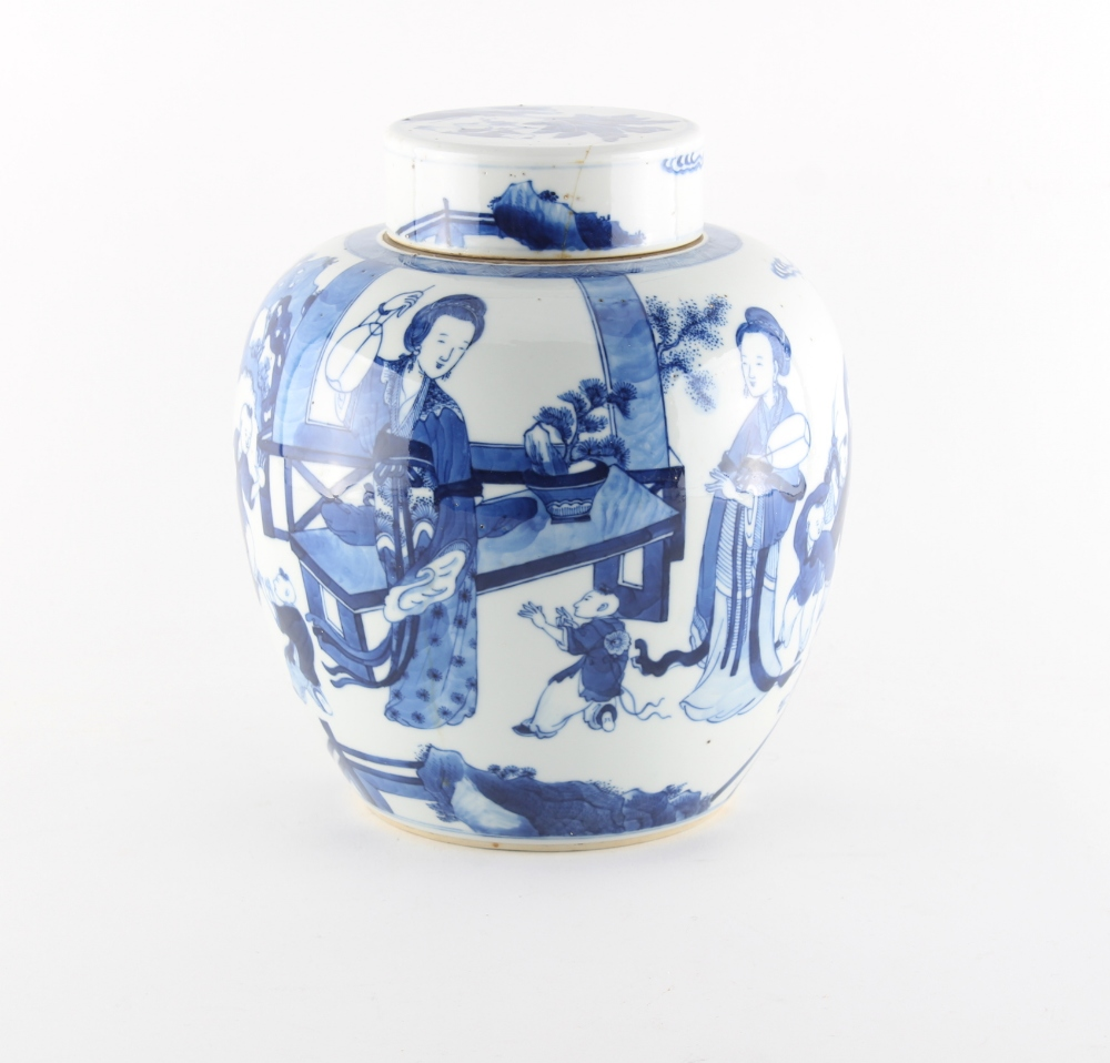 Property of a lady - a 19th century Chinese blue & white ovoid ginger jar & cover, painted with - Image 2 of 3