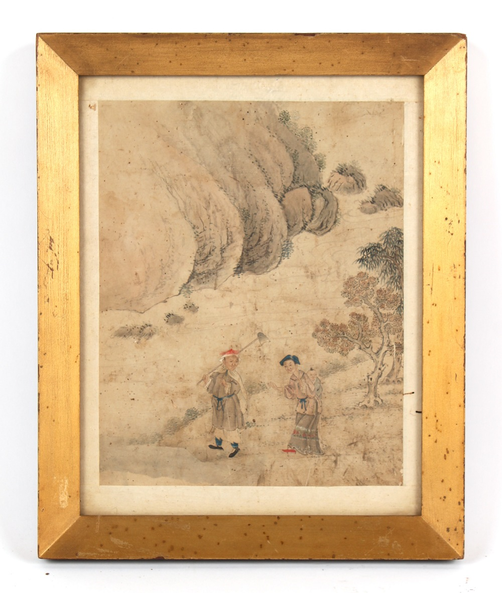 A Chinese painting on paper depicting a family in landscape, 19th century or earlier, in glazed gilt
