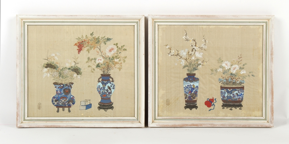 A pair of Chinese paintings on silk depicting flowers in vases, early 20th century Republic period,