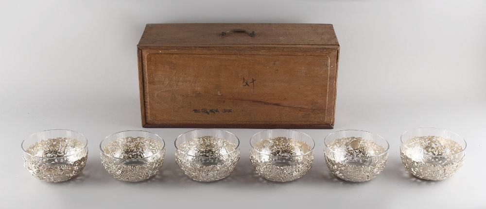Property of a gentleman - a set of six late 19th/ early 20th century Chinese silver pierced bowls
