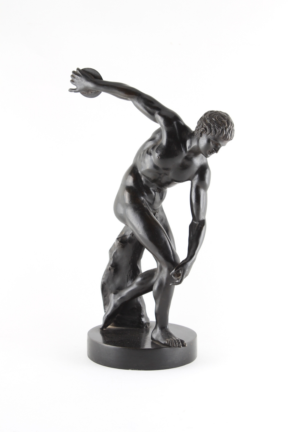 Property of a lady - a well cast 19th century patinated bronze figure of a discus thrower, after the