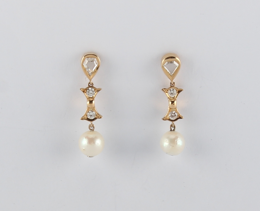 A pair of 18ct yellow gold pearl & diamond earrings, the untested pearls each approximately 8mm - Image 2 of 2