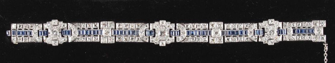 A fine diamond & sapphire bracelet, of Art Deco design, set with rectangular cut sapphires