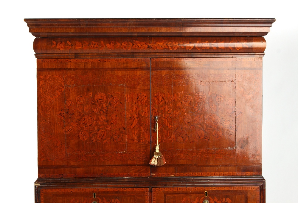 Property of a deceased estate - a walnut & floral marquetry inlaid two part cabinet on stand, - Image 2 of 4