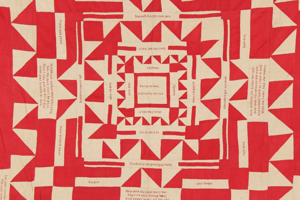 Property of a gentleman - a 19th century red & white cotton quilt or coverlet, reputedly the work of - Image 2 of 5