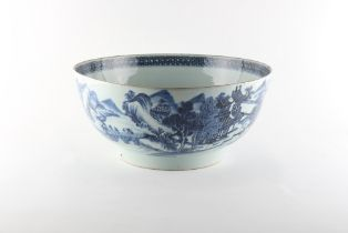 Property of a lady - a large Chinese blue & white punch bowl, Qianlong period (1736-1795), painted