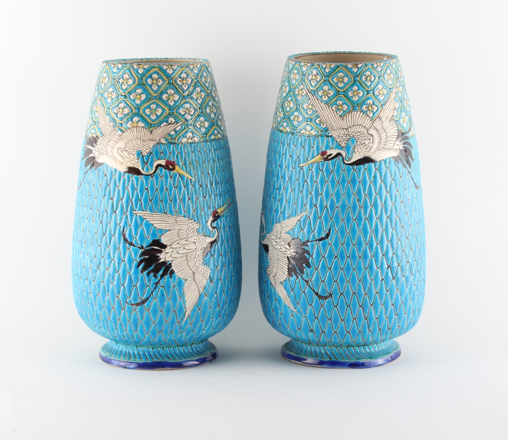 Property of a gentleman - a pair of Japanese turquoise ground vases, late 19th / early 20th century,