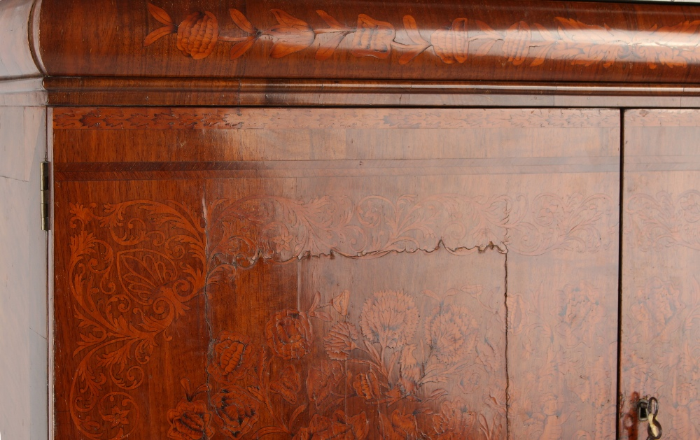 Property of a deceased estate - a walnut & floral marquetry inlaid two part cabinet on stand, - Image 4 of 4