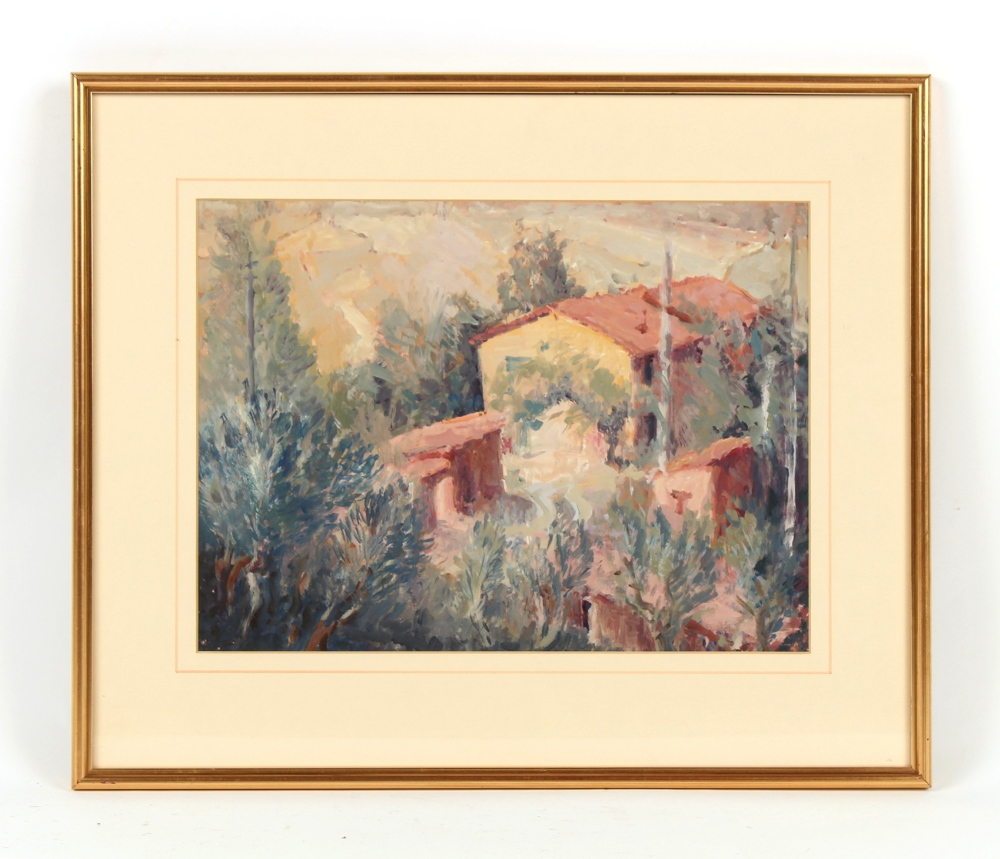 Property of a deceased estate - Roger Rigby (1922-2019) - 'FARM BUILDINGS ON A HILLSIDE OF OLD OLIVE