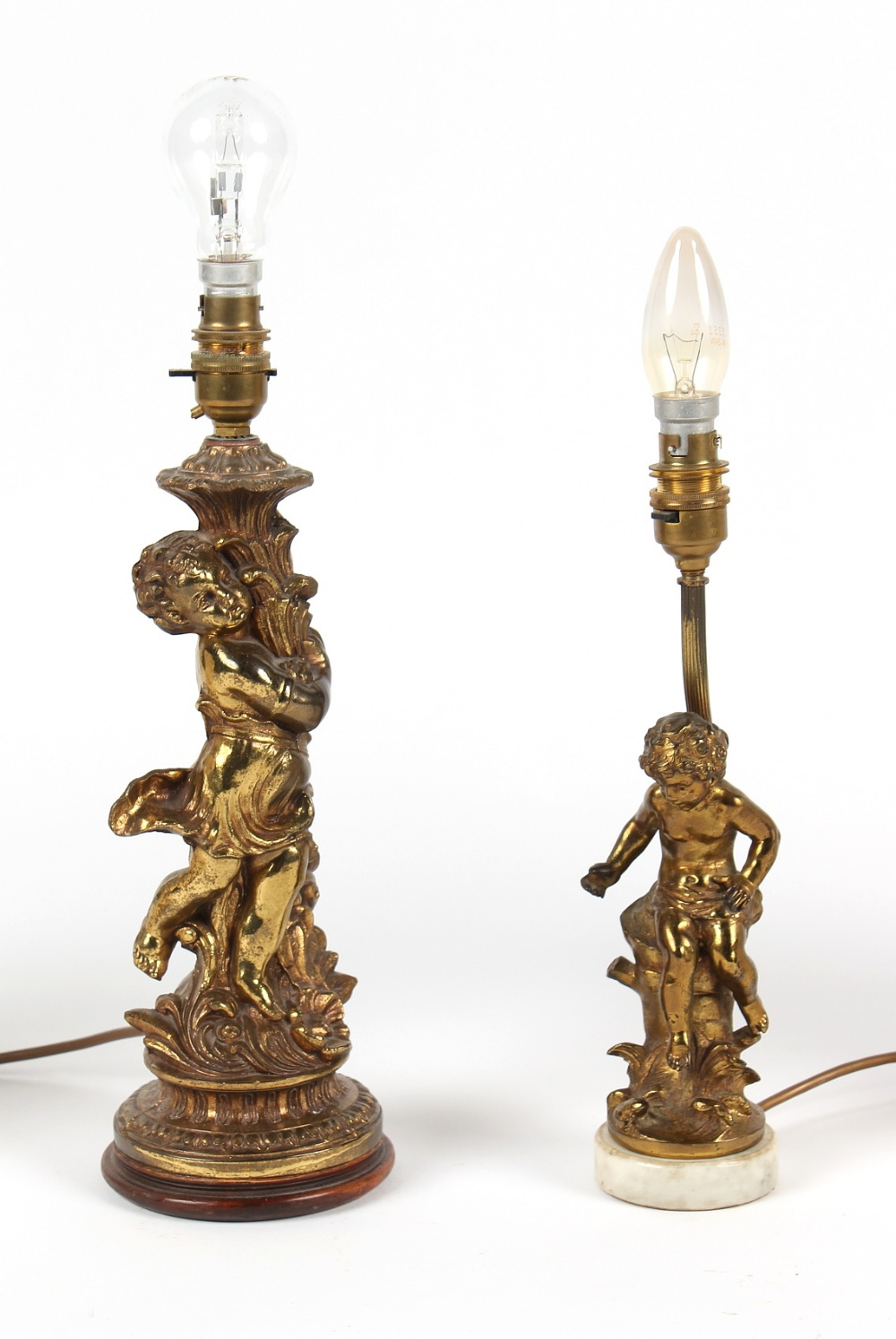 Property of a deceased estate - two gilt brass figural table lamps with shades, the taller - Image 2 of 2
