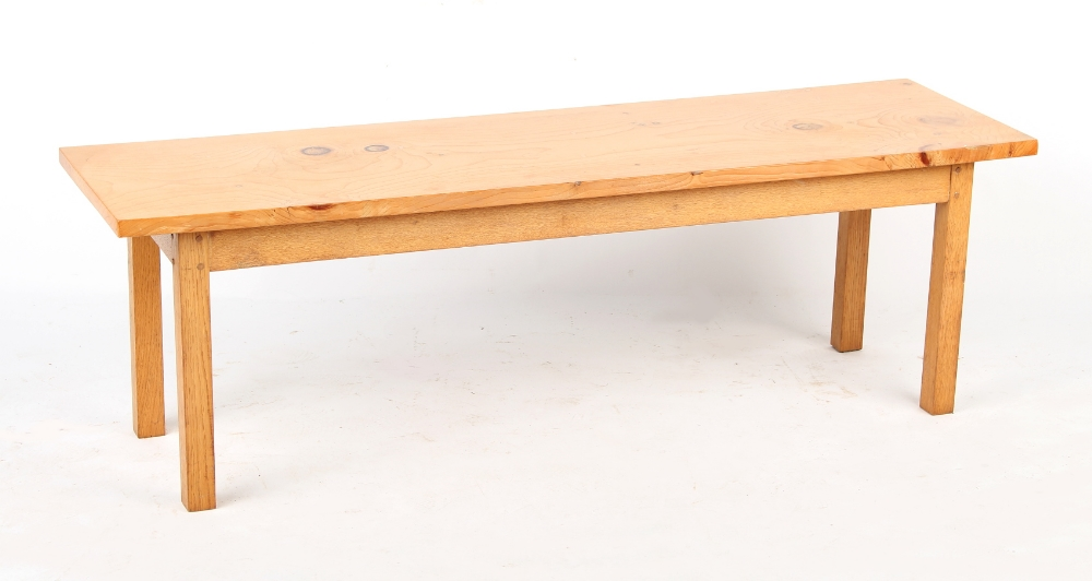 Property of a deceased estate - a solid birch rectangular topped coffee table, of pegged