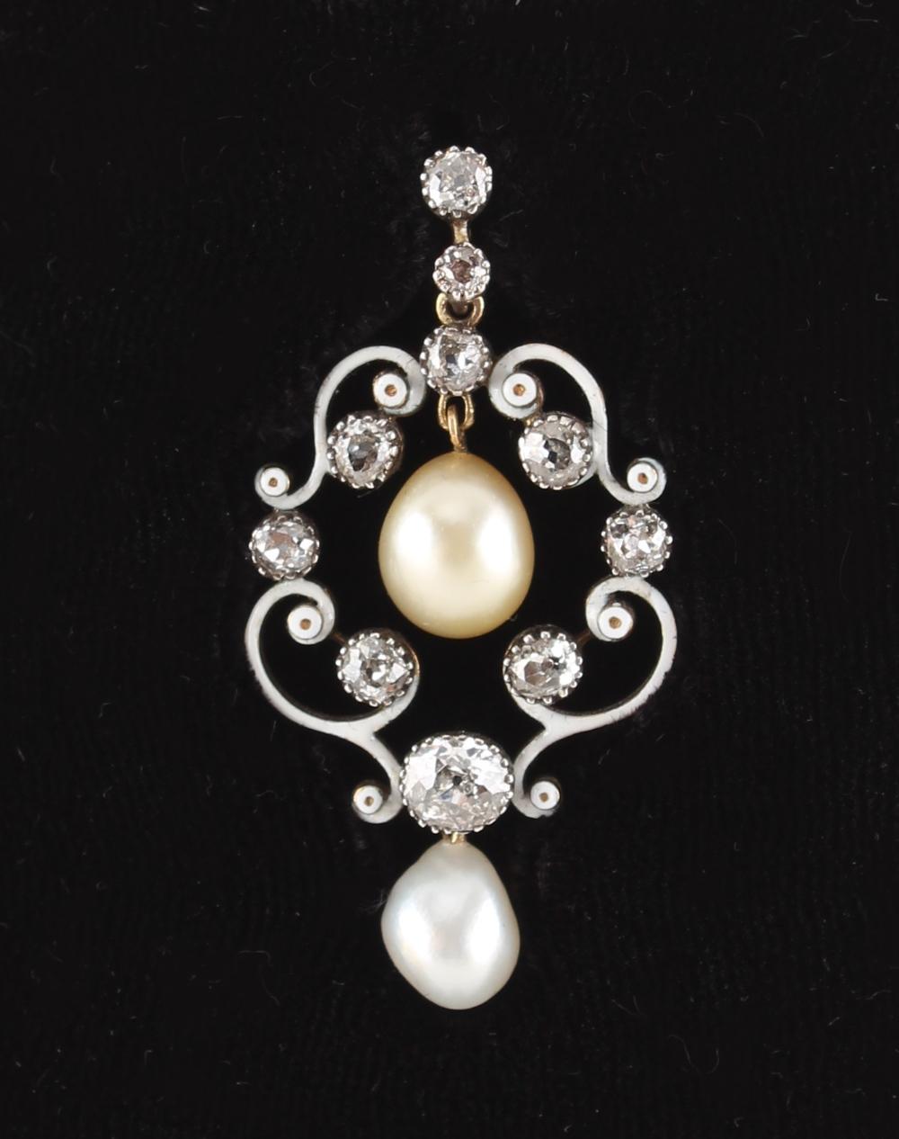 An antique natural saltwater pearl diamond & white enamel pendant, the white enamelled scroll