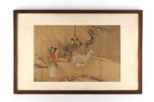 An 18th century Chinese painting on silk depicting four figures & a deer in landscape, the