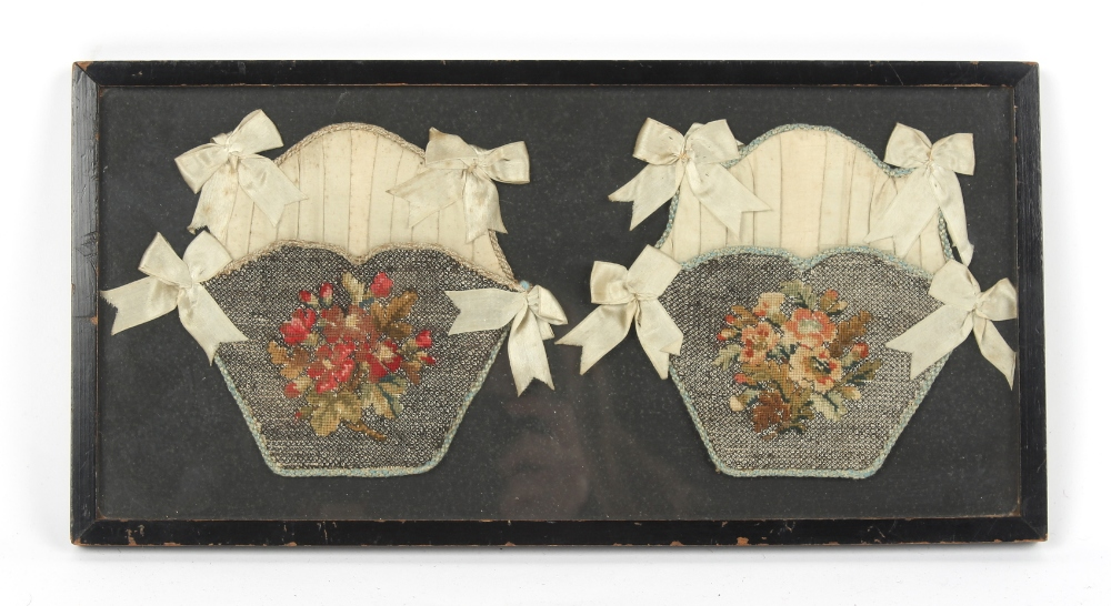Property of a gentleman - a pair of 19th century silk & wool needlework purse fronts, mounted in one