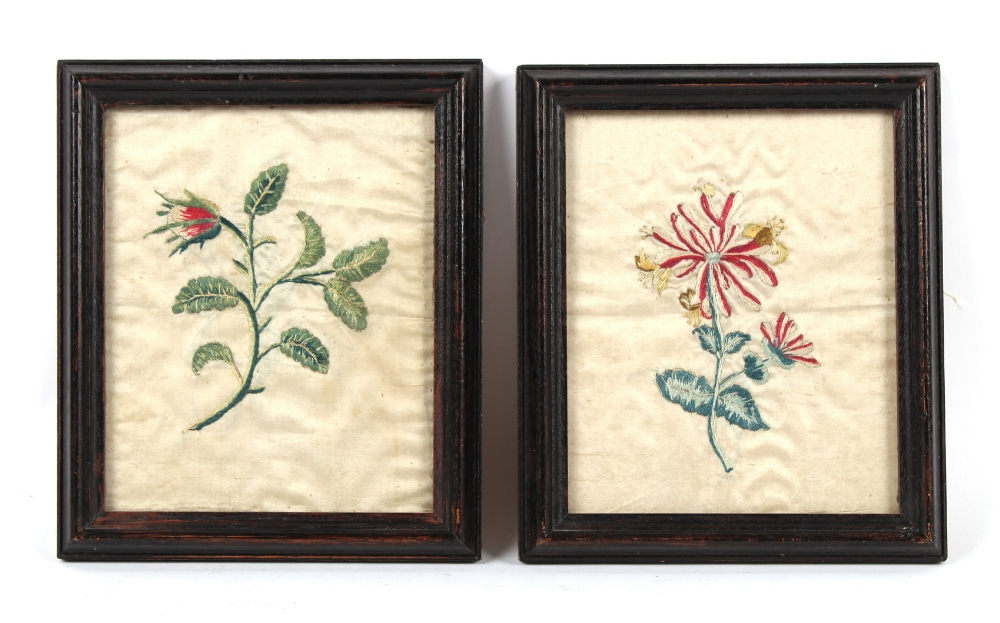 Property of a gentleman - a pair of 19th century silkwork pictures depicting single stem flowers, in