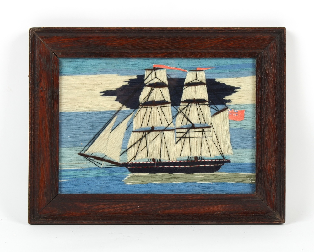 Property of a gentleman - a 19th century woolwork picture depicting a two masted sailing ship flying