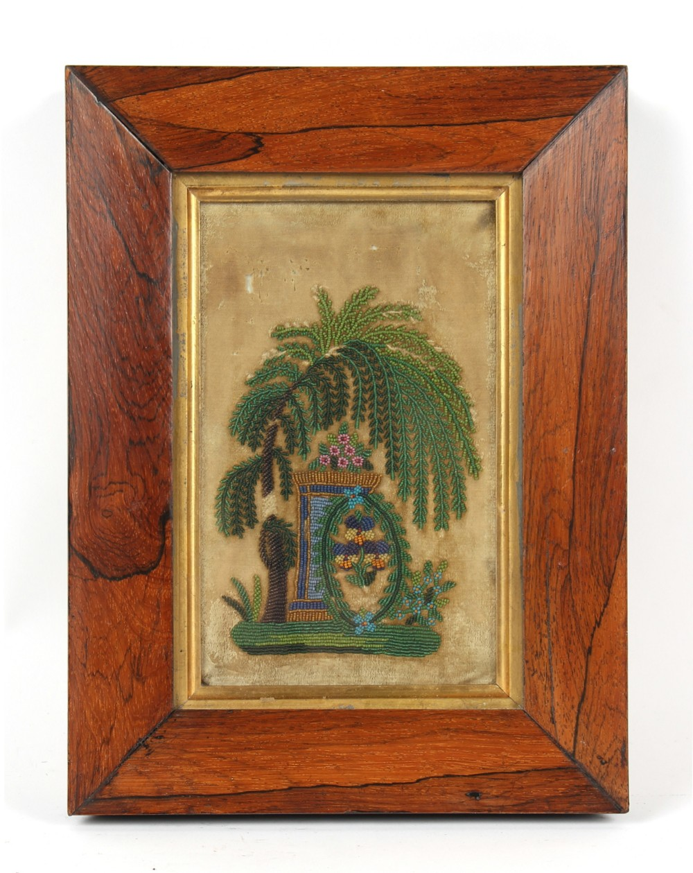 Property of a gentleman - a 19th century bead work picture depicting a palm tree & flowers on a
