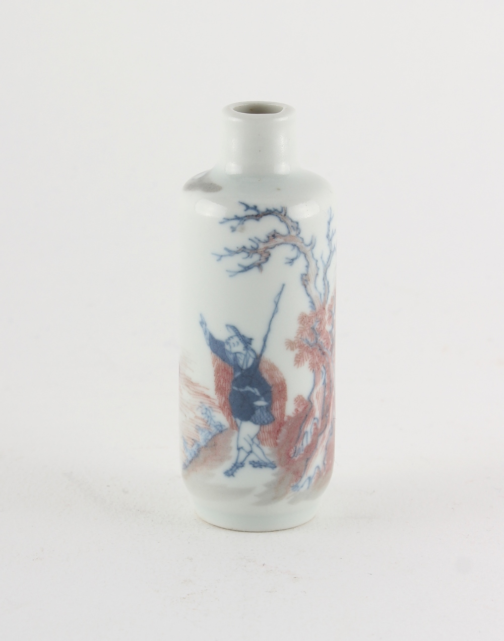 Property of a lady - a Chinese copper red & underglaze blue snuff bottle, 19th century, painted with