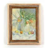 Property of a deceased estate - AA (late 20th century) - STILL LIFE OF TULIPS IN A VASE AND APPLES -