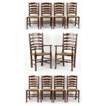 Property of a gentleman - a set of ten reproduction oak & rush seated country dining chairs (10).