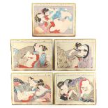 A set of five late 19th / early 20th century Japanese shunga (erotic) woodblock prints, mounted