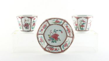 Property of a deceased estate - a pair of 18th century Chinese famille rose hexagonal beaker cups,