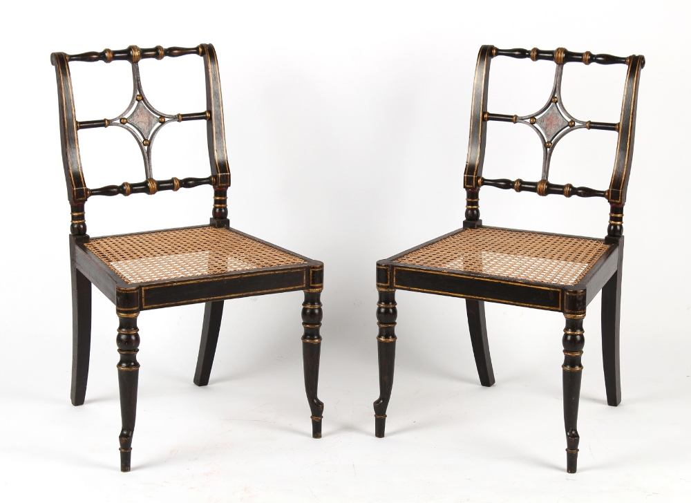 Property of a gentleman - a pair of early 19th century Regency period painted side chairs with