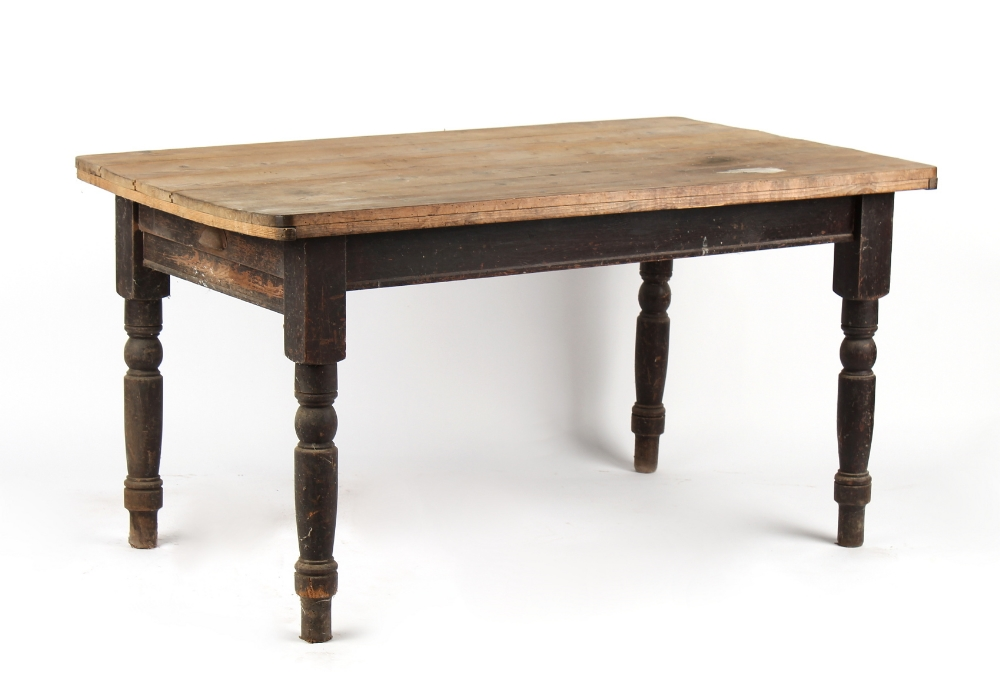Property of a deceased estate - a Victorian pine kitchen table with end drawer, evidence of live