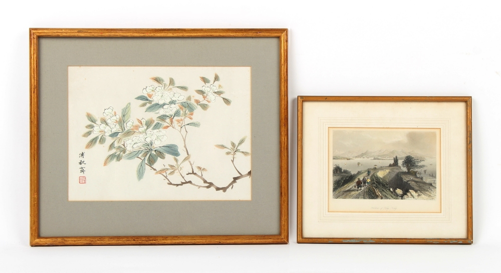 Property of a gentleman - a 19th century engraving depicting Hong Kong harbour, in glazed frame,