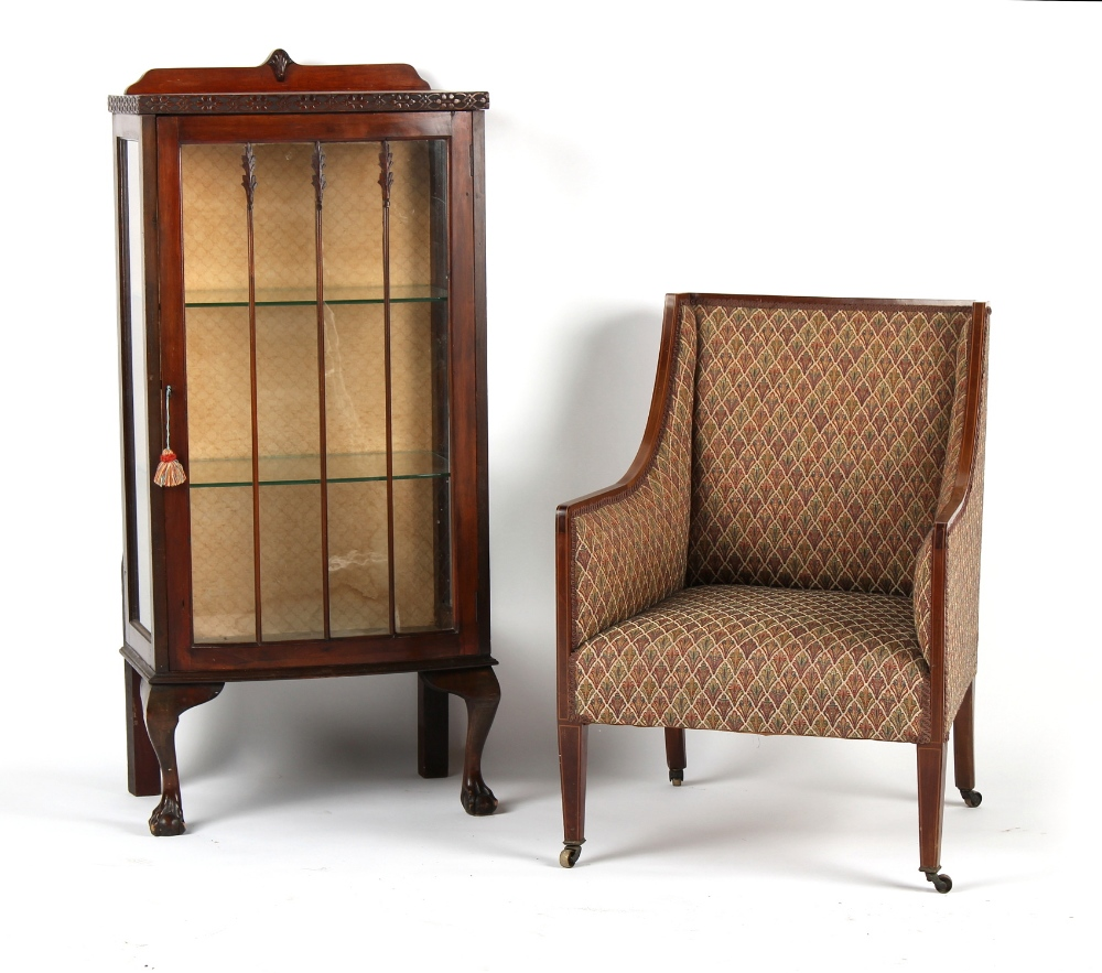 Property of a lady - an Edwardian mahogany & boxwood strung armchair; together with a china