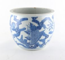 Property of a lady - a 19th century Chinese blue & white fish bowl planter, painted with a