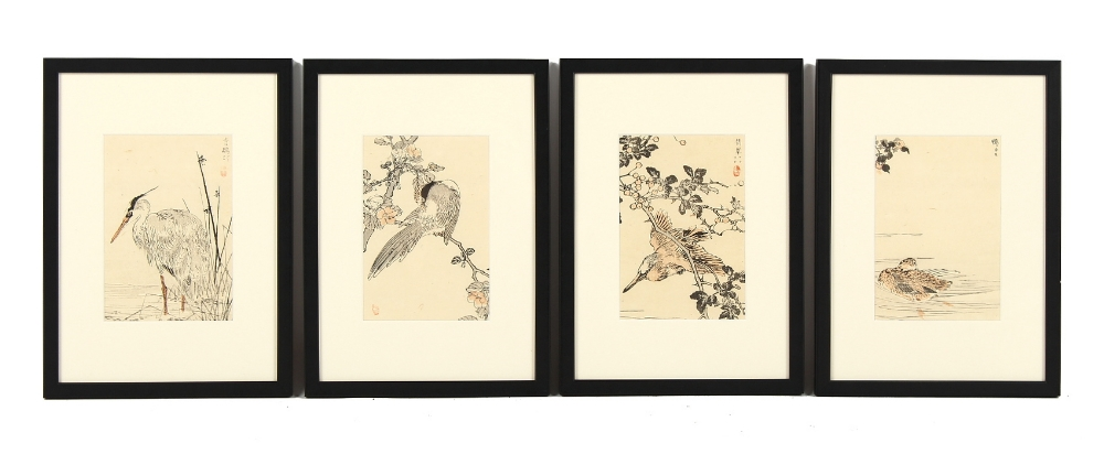 Bairei Kono (1844-1895) - BIRDS - a set of four late 19th century Japanese woodblock prints, in