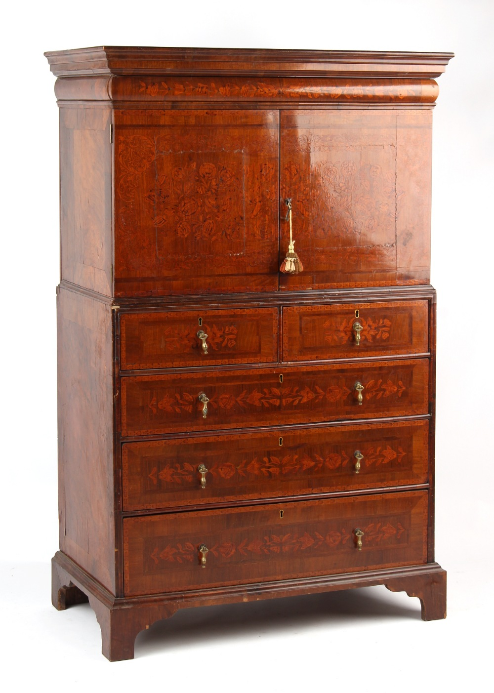 Property of a deceased estate - a walnut & floral marquetry inlaid two part cabinet on stand,