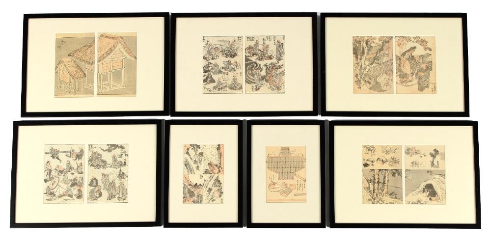 After Katsushika Hokusai (1760-1849) - five diptych's and two single Japanese woodblock prints