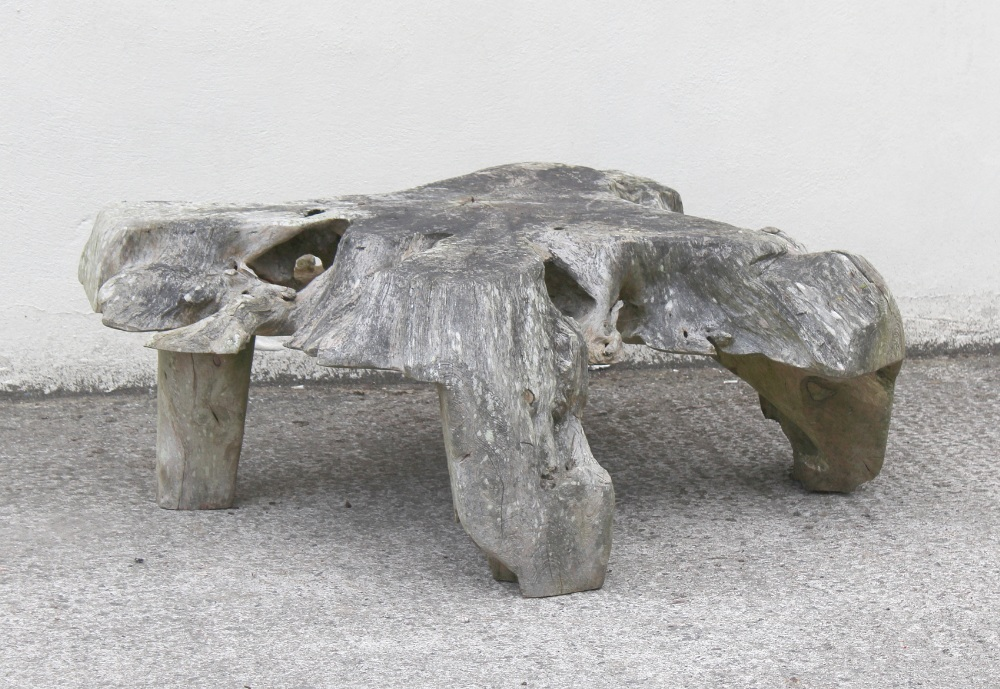 Property of a deceased estate - a garden seat or table base formed from a large tree root, 57.