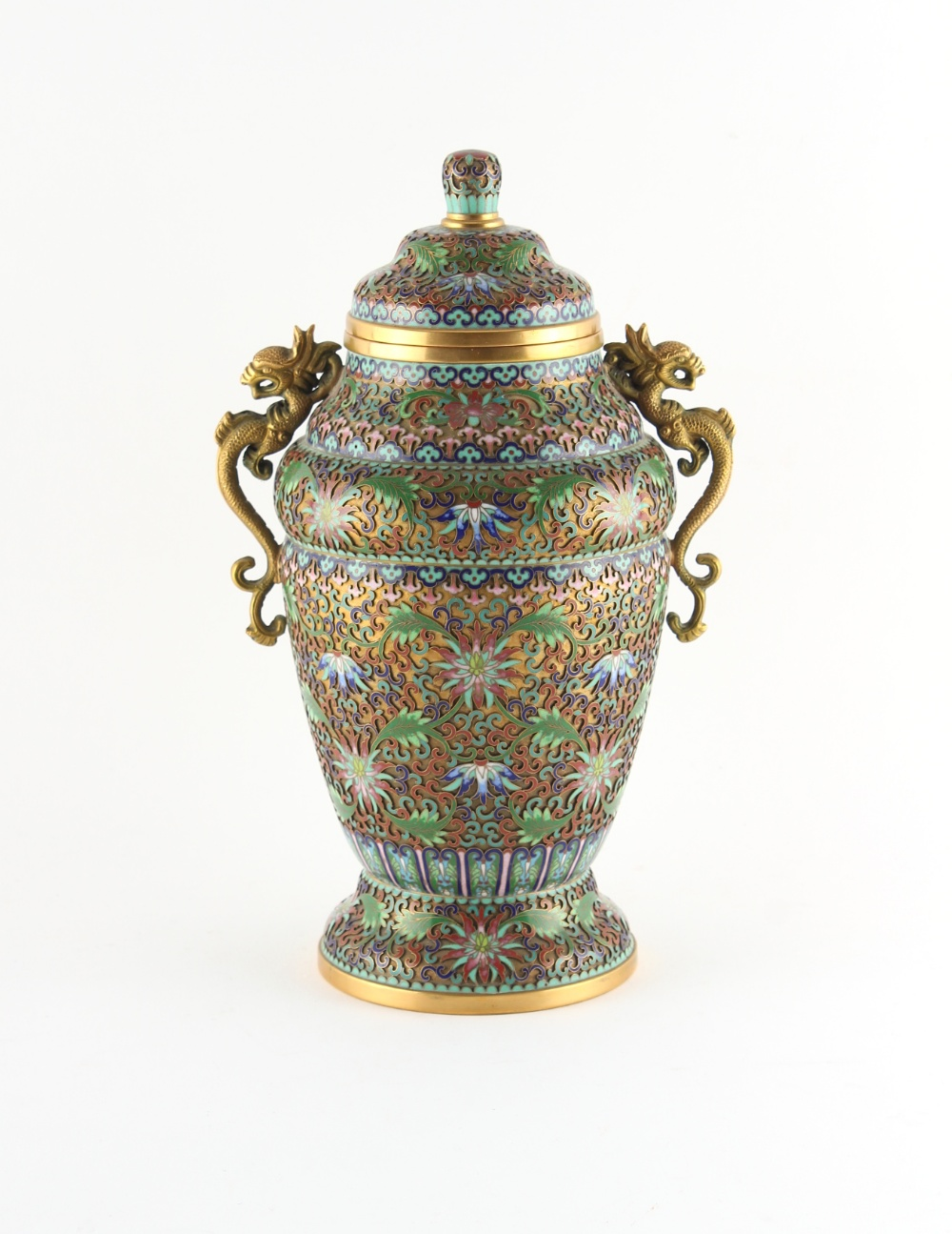 Property of a deceased estate - a Chinese champleve cloisonne vase & cover, 20th century, with